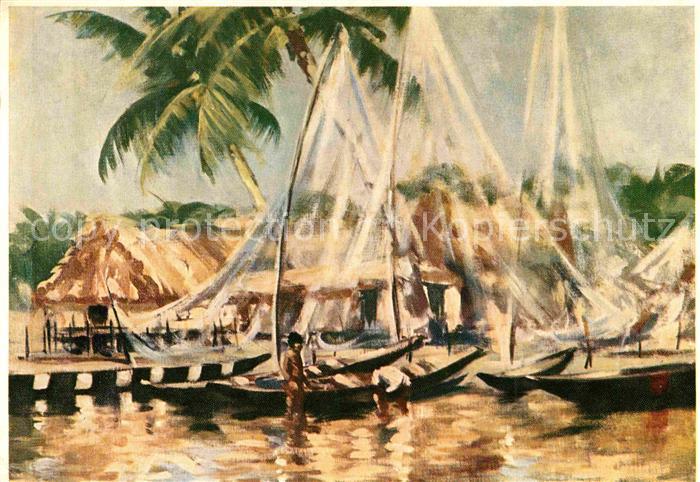 AK / Ansichtskarte Lagos Lagos Fishing Village Painting by E.C. Vranas Kuenstlerkarte Kat. Lagos