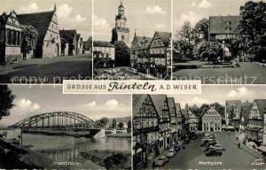 AK / Ansichtskarte Rinteln Weser Muenchhausen Hof Nikolaikirche und Rathaus Eulenburg Weserbruecke Marktplatz Kat. Rinteln