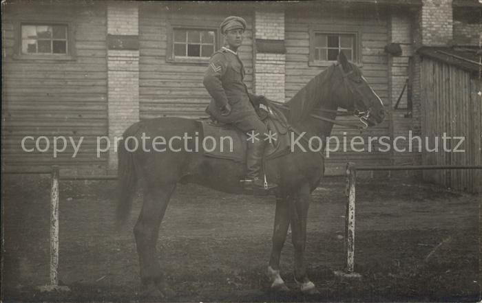 Militaria Kavallerie Soldat auf dem Pferd WK1