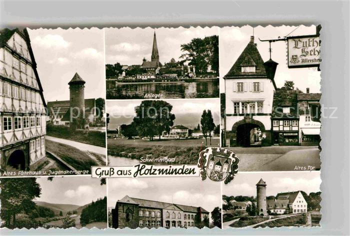 AK / Ansichtskarte Holzminden Weser Altes Faehrhaus Jugendherberge Schwimmbad Altes Tor Kat. Holzminden