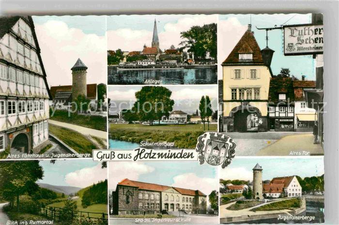 AK / Ansichtskarte Holzminden Weser Altes Faehrhaus Jugendherberge Schwimmbad Altes Tor Ingenieurschule Kat. Holzminden