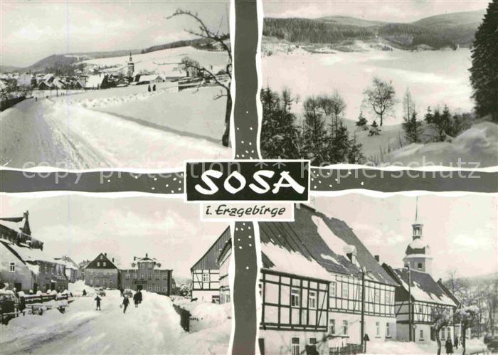 AK / Ansichtskarte Sosa Erzgebirge Fachwerk im Winter Kat. Sosa