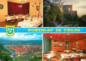 AK / Ansichtskarte Celje Cilli  Fliegeraufnahme Burg Restaurant Kat. Celje