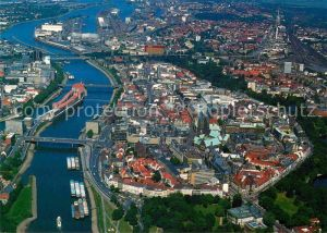 AK / Ansichtskarte Bremen Hansestadt mit Weser Fliegeraufnahme Kat. Bremen