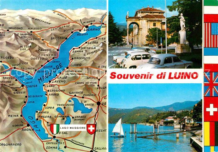Lago Maggiore Karte Mit Orten.Ak Ansichtskarte Luino Lago Maggiore Und Umgebung Landkarte Ortsmotiv Statue Ufer Nationalflaggen Kat Lago Maggiore