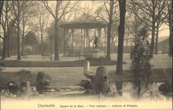 Charleville Square Gare Pont Rustique Lutteurs Kiosque *