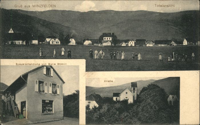 Winzfelden Winzfelden Kirche Spezereihandlung Marie Stueblin * /  /