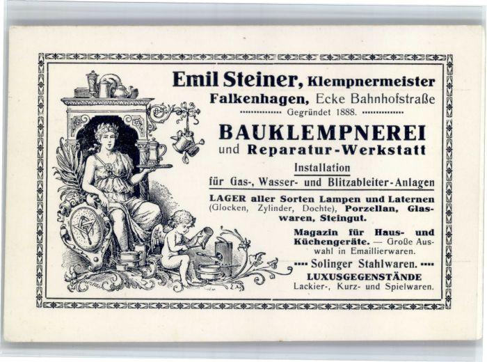 AK / Ansichtskarte Falkenhagen Falkenhagen [?] Emil Steiner Klempnermeister * /  /