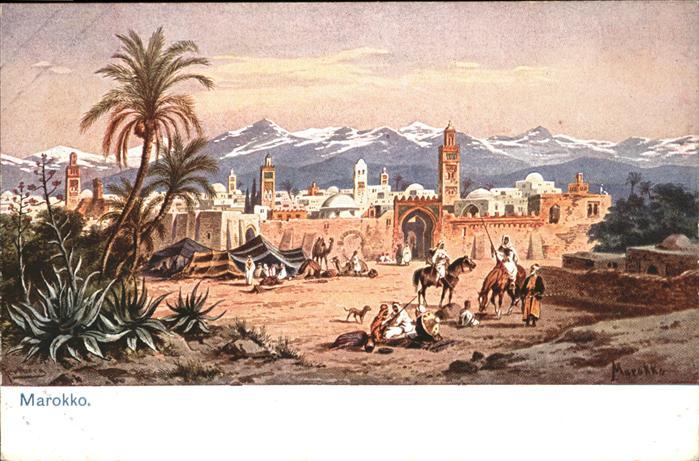 AK / Ansichtskarte Marokko Pferd Hund Kuenstler F Perlberg /  /