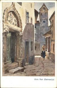 wz94841 Rab Kroatien Otok Rab Gasse Kirche Kuenstlerkarte Handel-Mazetti Kategorie.  Alte Ansichtskarten