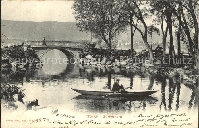 Zuerichhorn Partie am Fluss Boot Bruecke Kat. Zuerich