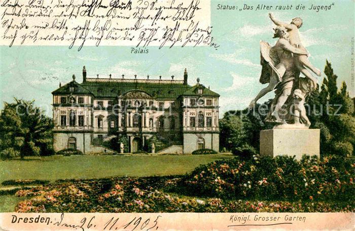 Dresden Palais Kgl Grosser Garten Statue Das Alter raubt die Jugend Kat. Dresden Elbe