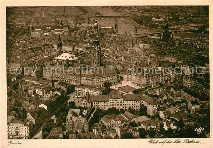 Dresden Fliegeraufnahme Neues Rathaus Kat. Dresden Elbe