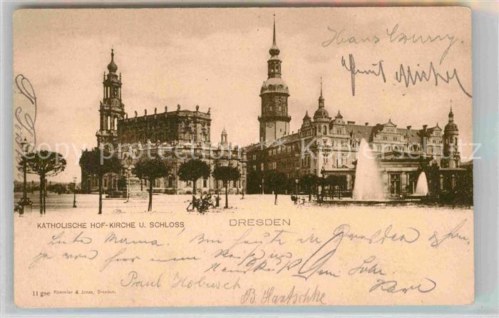 Dresden Kath Hofkirche und Schloss Kat. Dresden Elbe