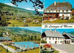AK / Ansichtskarte Sankt Lorenzen Scheifling Panorama Freibad Gasthof Kat. Sankt Lorenzen bei Scheifling