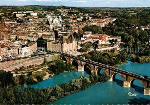 Montauban Vieux Pont et le Musee Ingres vue aerienne Kat. Montauban