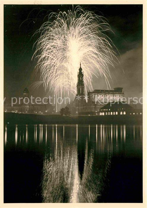 Dresden Feuerwerk am Elbufer Kat. Dresden Elbe