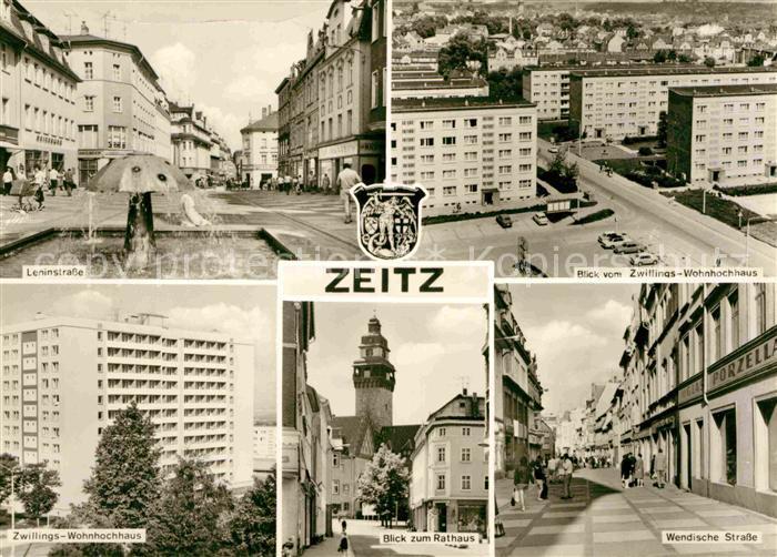 Zeitz Leninstrasse Blick vom Zwillingswohnhochhaus Wendische Strasse Rathaus Kat. Zeitz