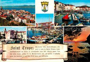 AK / Ansichtskarte Saint Tropez Var Vue generale et le Golfe Port Coucher de Soleil Kat. Saint Tropez