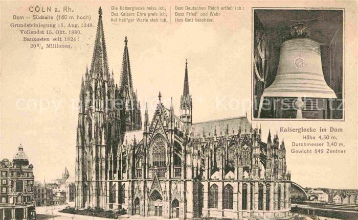 AK / Ansichtskarte Kirchenglocken Kaiserglocke Dom Koeln am Rhein  Kat. Gebaeude