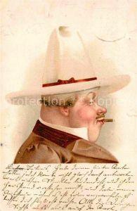 AK / Ansichtskarte Zigarre Mann Hut Litho  Kat. Genussmittel