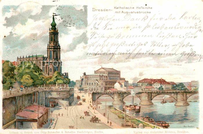 AK / Ansichtskarte Dresden Kath Hofkirche mit Augustusbruecke Kat. Dresden Elbe