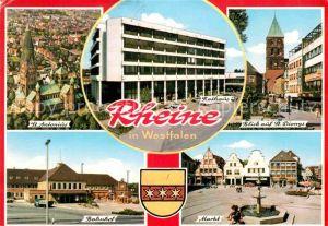 AK / Ansichtskarte Rheine Fliegeraufnahme St. Antonius St. Dionys Bahnhof Markt Kat. Rheine