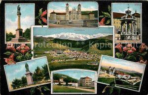 AK / Ansichtskarte Einsiedeln SZ Sankt Meinrads Statue Kloster Schule  Kat. Einsiedeln