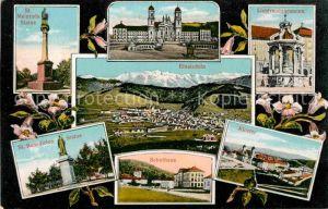 AK / Ansichtskarte Einsiedeln SZ Sankt Meinrads Statue Liebfrauenbrunnen Kloster Schulhaus Kat. Einsiedeln