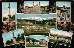 AK / Ansichtskarte Einsiedeln SZ Sankt Meinrads Statue Kloster Schulhaus Panorama  Kat. Einsiedeln