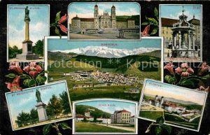 AK / Ansichtskarte Einsiedeln SZ Sankt Meinhards Statue Schulhaus Kloster Sankt Benedictus Statue Kat. Einsiedeln