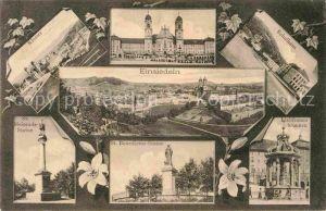 AK / Ansichtskarte Einsiedeln SZ Kloster Sankt Meinrads Statue Liebfrauenbrunnen Schulhaus Kat. Einsiedeln