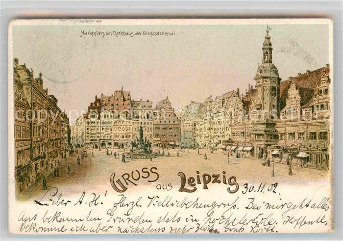 AK / Ansichtskarte Leipzig Marktplatz mit Rathhaus und Siegesdenkmal Kat. Leipzig