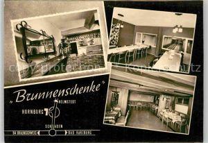 AK / Ansichtskarte Hornburg Wolfenbuettel Brunnenschenke Kegelbahnen Gastraum Kat. Hornburg