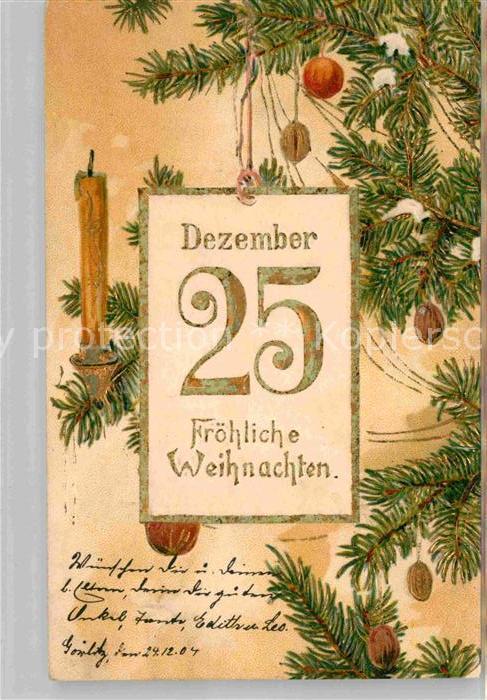 Ist Weihnachten Am 24 Oder 25.Weihnachten Rosen Tannenbaum 25 Dezember Litho Kat Greetings Nr