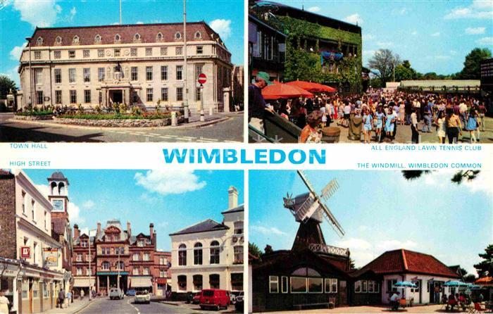 AK / Ansichtskarte Wimbledon Town Hall All England Lawn Tennis Club High Street The Windmill Kat. Merton