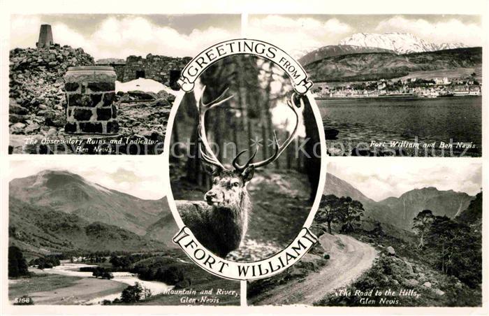 AK / Ansichtskarte Fort William Lochaber Observatory Ruins Fort William and Ben Nevis Mountain and River Road to the Hills Glen Nevis Kat. Lochaber 0