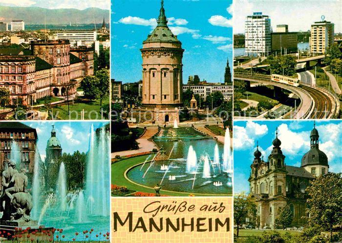 AK / Ansichtskarte Mannheim Schloss Wasserturm Hafen Friedrichsplatz Jesuitenkirche Kat. Mannheim