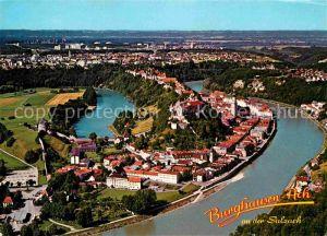 AK / Ansichtskarte Burghausen Salzach Grenzstadt Woehrsee Fliegeraufnahme Kat. Burghausen