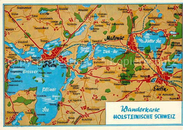 Holsteinische Schweiz Karte.Ak Ansichtskarte Holsteinische Schweiz Wanderkarte Ploen Malente Eutin Kat
