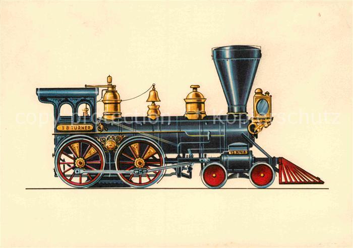 AK / Ansichtskarte Lokomotive Chicago Western Bahn 1867 Zeichnung Swoboda  Kat. Eisenbahn