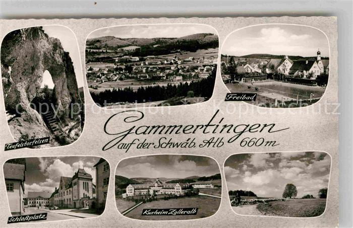 AK / Ansichtskarte Gammertingen Teufelstorfelsen Panorama Freibad Schlossplatz Kurheim Zolleralb Kat. Gammertingen