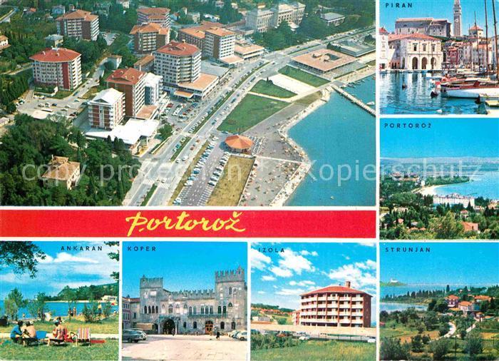 AK / Ansichtskarte Portoroz Fliegeraufnahme Strand Piran Strunjan Izola Koper Ankaran Kat. Slowenien
