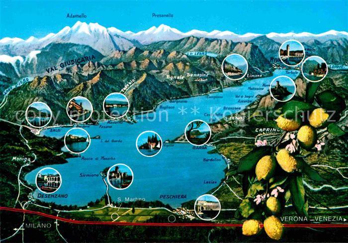 AK / Ansichtskarte Gardasee Lago di Garda und Umgebung Alpen aus der Vogelperspektive Zitronen Kat. Italien