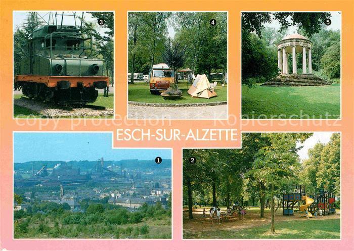 AK / Ansichtskarte Esch Sur Alzette Panorama Elektrolok Camping Spielplatz Belvedere Galgenbierg Kat. Esch Sur Alzette