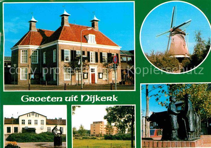 AK / Ansichtskarte Nijkerk Windmuehlen Skulpturen Denkmal Kat. Nijkerk