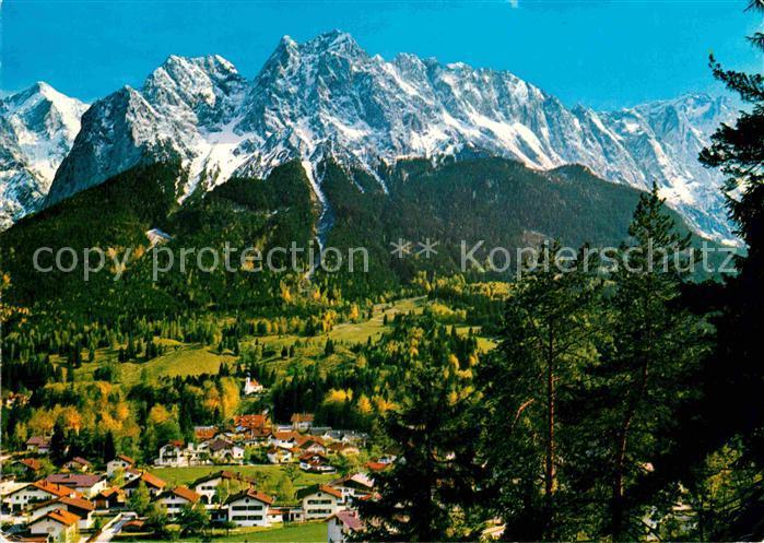 AK / Ansichtskarte Grainau Panorama mit Blick zur Alpspitze Waxenstein Zugspitze Wettersteingebirge Kat. Grainau