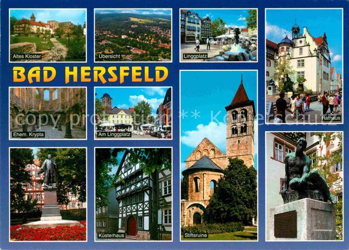 AK / Ansichtskarte Bad Hersfeld Kloster Linggplatz Rathaus Denkmal Stiftsruine Kuesterhaus Krypta Kat. Bad Hersfeld
