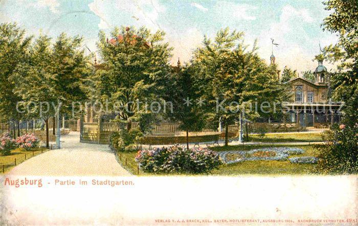 AK / Ansichtskarte Augsburg Partie im Stadtgarten Kat. Augsburg