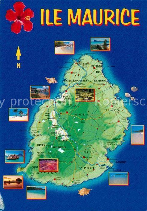AK / Ansichtskarte Mauritius Landkarte  Kat. Mauritius
